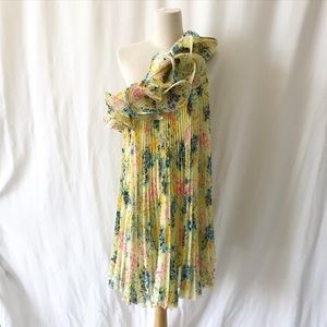 Samuel Dong floral pleated chiffon dress Size S